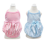 Dog Shirt / T-Shirt Blue / Pink Spring/Fall Stripe / Bowknot Fashion