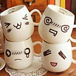 300ml FUNNY FACE MOOD Mug White Pottery Ceramic Tea Coffee Milk Cup Christmas Gifts (Random Style)
