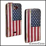 americano del tirón del cuero de la bandera arriba-abajo de la piel cubierta de la caja abierta para HTC Desire 516