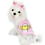 Hunde T-shirt Rosa / Gelb Sommer Modisch