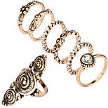 New Bohemia Vintage Jewelry Unique Carving Tibetan Gold Color Midi Ring Set for Women 7PCS/Set Punk Boho Ring Sets