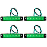 4Pcs Side Marker Light Indicator 12V For Car 6 Led Green Light Truck
