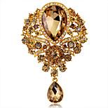 Women's Fashion Luxury Jewel Crystal Rhinestone Water Drop Badges Pins Flower Party/Wedding Brooch 1 Piece