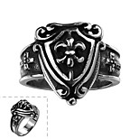Classical Individual No Decorative Stone Men's Cross Shield Stainless Steel Ring(Black)(1Pc)