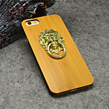 Natural Bamboo Lion Knocker Holder with Stand for iphone 6s Plus/iphone 6 Plus