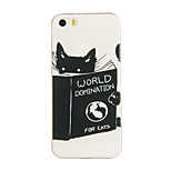 Books And Cats Pattern TPU Soft Case Phone Case for iPhone 5/5S