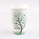 Four Seasons Tree Elegance Ceramic Cup with Lid and Silicone Cover Protector Random Pattern