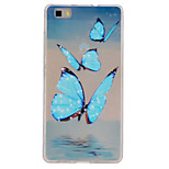 Blue Butterfly Pattern Slim Relief TPU Material Phone Case for P8 Huawei Lite