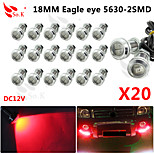 20x 18mm 9wled eagle eye varsel DRL backup lätt dimma bil auto röd 12V