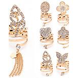Women's Fashion Oval Butterfly Leaf Clover Love Heart Shiny Rhinestone Chain Tassel Ring