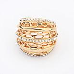 Women's New European Fashion Shiny Rhinestone Hollow Ring