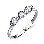 HKTC 18K White Gold Plated 0.25ct * 3 Pieces Zirconia Diamond Ladies Jewellery RingsImitation Diamond Birthstone