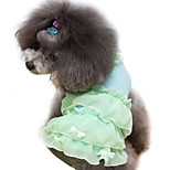 Dog Dress Green / Blue / Pink / Purple Summer / Spring/Fall Solid / Bowknot / Pearl Fashion