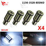 4x Car 1156 BA15S 80 SMD 3528 LED Xenon White Tail Turn Signal Light Lamps Bulbs