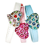 Dog Collar Adjustable/Retractable / Rhinestone / Heart Shaped White / Blue / Pink PU Leather
