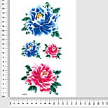 Red Peony 3D Leg Body Back Chest Arm Temporary Tattoos Stickers Non Toxic Glitte Fake Tattoo Waterproof Glitter 22*15cm