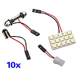 10X 15 SMD 5050 LED Panel Festoon Light Lamp Pure White Adapter