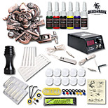 dragonhawk® kit de tatuagem máquina de tatuagem fonte de alimentação de 6 tintas de cores 1 alívio definida para iniciantes