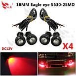conduit aigle diurne des yeux la lumière de sauvegarde en cours d'exécution DRL brouillard voiture auto 12v rouge 18mm 9w x 4