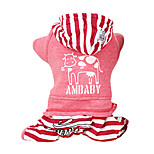 Dog Coat / Clothes/Jumpsuit Red / Gray Winter Stripe Fashion / Keep Warm