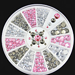 3D Nail Art Decorations White Pink Grey Women Glitters Diy Rhinestones For Nails Tools
