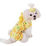 Dog Jumpsuit Green / Pink / Yellow Spring/Fall Cartoon Fashion