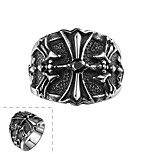 Fashion Individual No Decorative Stone Men's Cross Stainless Steel  Ring(Black)(1Pc)