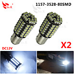2x Car 1157 BAY15D 80 SMD 3528 LED Xenon White Tail Turn Signal Light Lamps Bulbs