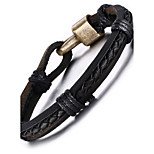 Leather Woven Brass Buckle Men Bracelet