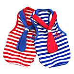 Dog Jumpsuit Red / Blue Spring/Fall Stripe / Neck Tie Fashion