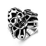 Generous Individual No Decorative Stone Men's Stoving Varnish Skull Stainless Steel Ring(Black)(1Pc)