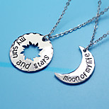 My Letter Of The Sun And Stars Lovers Pendant Necklace