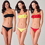 Flounced and Bandeau Top Removable Neck Halter Bottom Closured Removable Push up Padding Women Bikini Swimsuit DM057