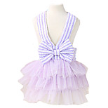 Dog Dress Blue / Pink / Purple Summer / Spring/Fall Bowknot / Stripe Fashion