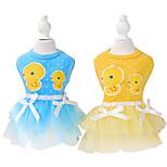 Dog Dress Blue / Pink / Yellow Spring/Fall Cartoon / Bowknot Fashion