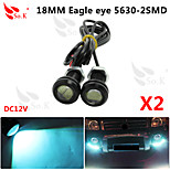 2 X ICE 9W LED Eagle Eye Light Car Fog DRL Daytime Reverse Backup Parking Signal 12V