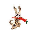Fashion Women Cute Gold Plated Enamel Rabbit Brooch (pack with gift bag)