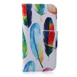 Colored Feathers Pattern PU Leather Material Phone Case for iPhone 6 Plus/6S Plus