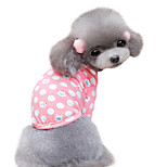 Dog Shirt / T-Shirt Green / Pink Spring/Fall Polka Dots Fashion