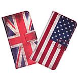 caso de cuero de la bandera ranura de tarjeta en la cartera cubierta del caso americano o británico para HTC Desire 601