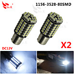 2x Car 1156 BA15S 80 SMD 3528 LED Xenon White Tail Turn Signal Light Lamps Bulbs