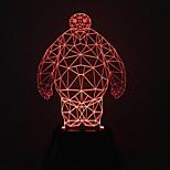 visivo 3d baymax colore che cambia la decorazione della lampada da tavolo USB regalo luce variopinta di notte