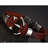 Head Layer Cowhide Titanium Steel Buckle Men Anchor Bracelet