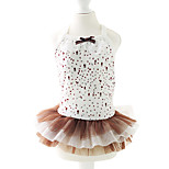 Dog Dress Coffee Summer / Spring/Fall Polka Dots / Bowknot Fashion