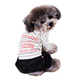 Dog Jumpsuit Pink Winter Letter & Number / Stripe Cowboy / Fashion
