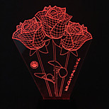 Visual 3D Roses Color-changing LED Decoration USB Table Lamp Colorful Gift Night Light