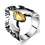 Generous Individual No Decorative Stone Men's Eagle Stainless Steel Ring(Black)(1Pc)