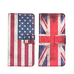 caso de cuero de la bandera ranura de la cubierta del caso tarjeta de bolsillo americano o británico para HTC uno mini-m4