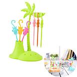 6 Fork Monkey shape Coconut Tree Fruit Fork Snack Dessert Forks Toothpick Holder (Random Color)