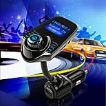 t10 super-bluetooth support de lecteur de musique mp3 sans fil émetteur kit voiture mains libres fm carte tf, 5v 2.1a usb chargeur de